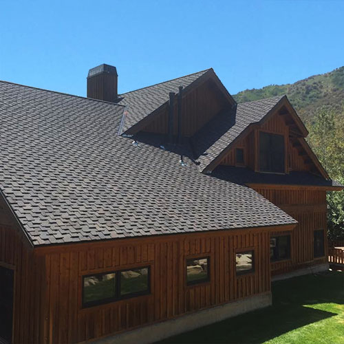Sloped roof with shingles in Park City.
