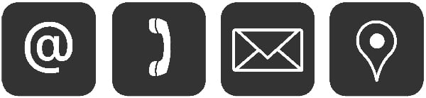 Contact icons, including email, phone, and location.