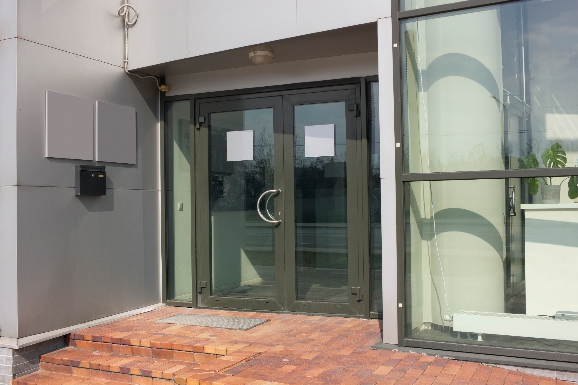 Commercial property glass doors.