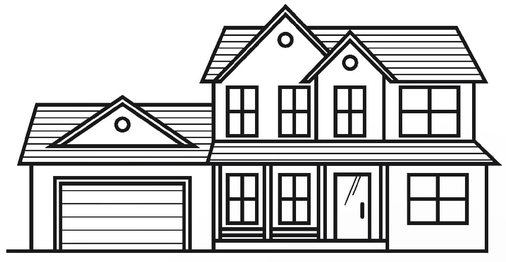 Line art of a modern suburban house.