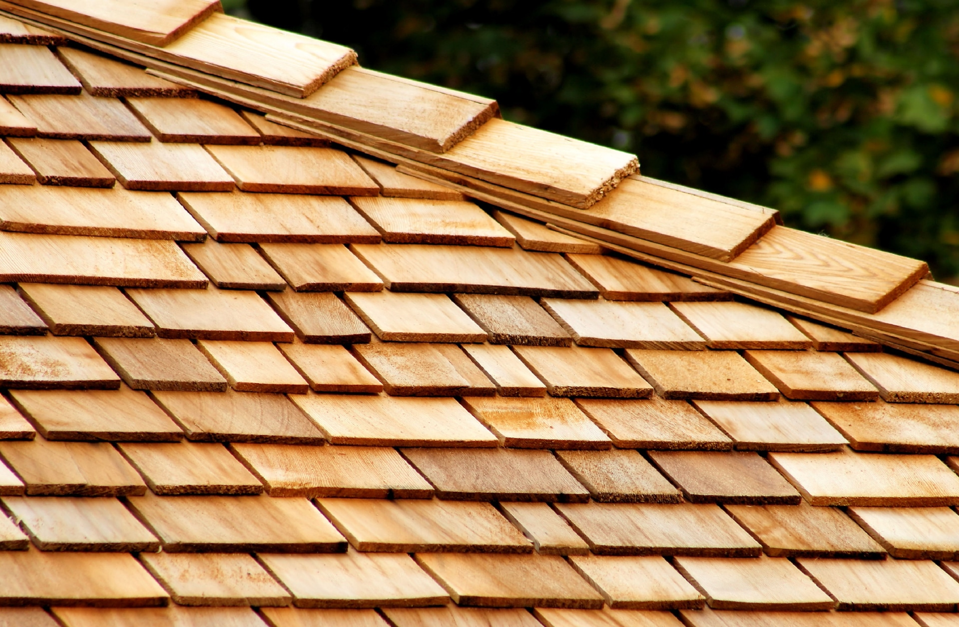 Wooden shingles on a sloped roof.