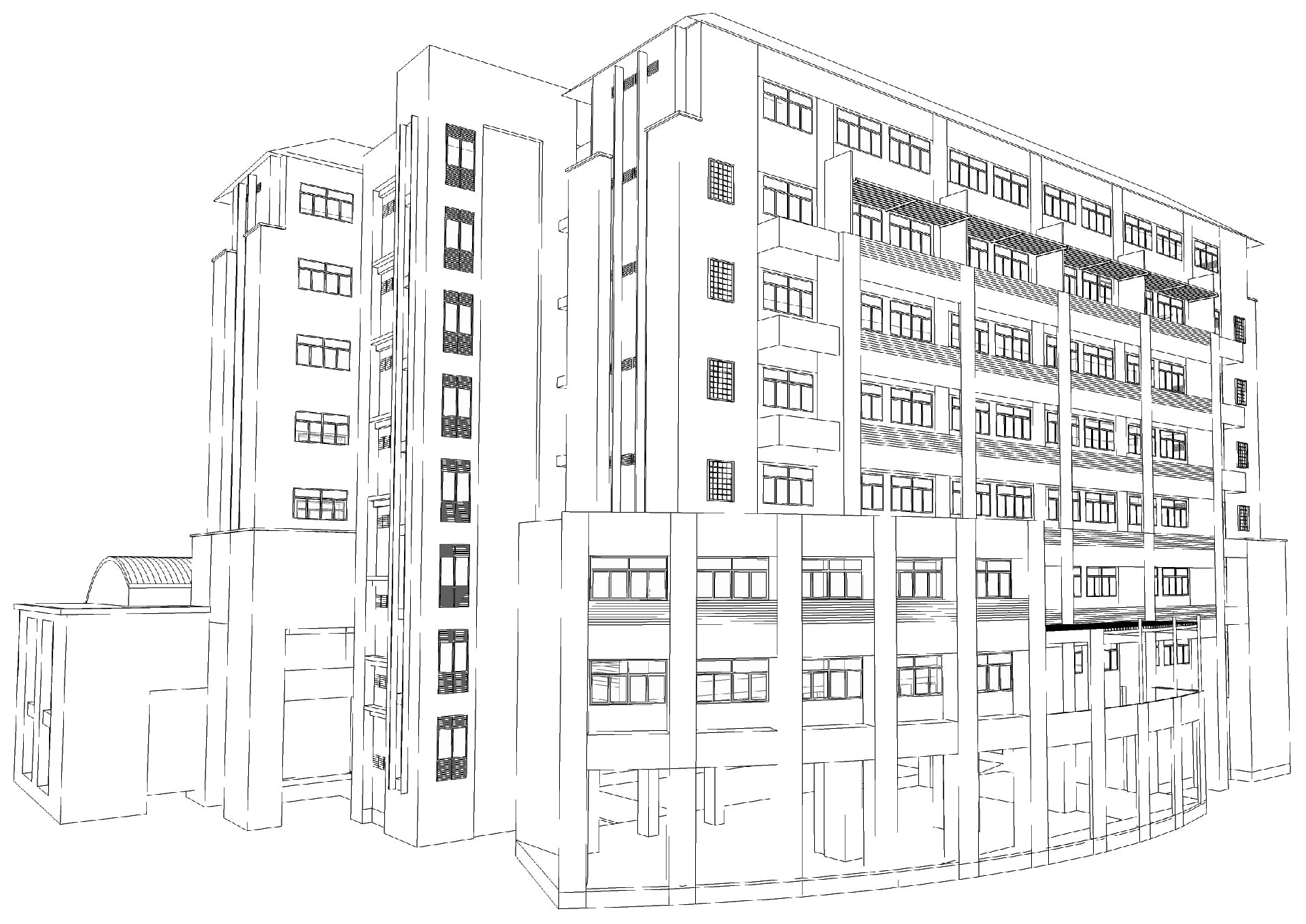 Wireframe sketch of a commercial building.